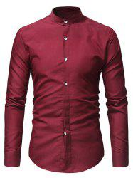 Stand Collar Solid Casual Long Sleeve Shirt -