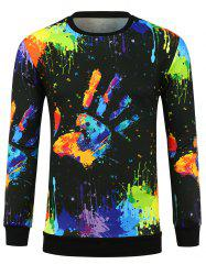 Handprint Paint Splatter Round Neck Sweatshirt -
