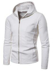 Zip Up Solid Color Hooded Jacket -