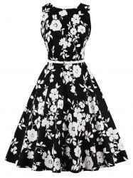 Retro Floral Swing Dress -