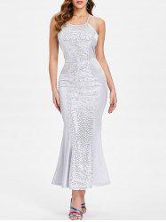 Sequin Panel Open Back Dress -