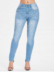 Beading Front Slim Fit Jeans -