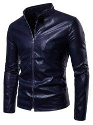 Slim Fit PU Leather Stand Collar Jacket -