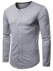 Casual Round Neck Button Up T-shirt -