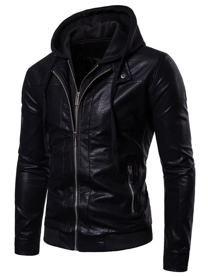 Chic Slim Fit Double Zipper Hooded Jacket