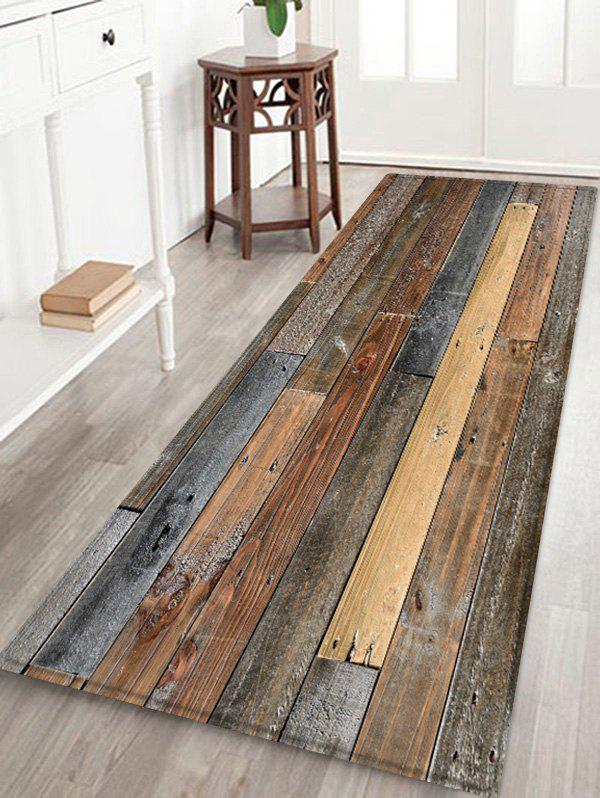 Online Vintage Wood Board Print Fleece Area Rug
