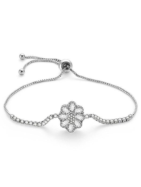 Buy Fake Diamond Flower Design Adjustable Bracelet