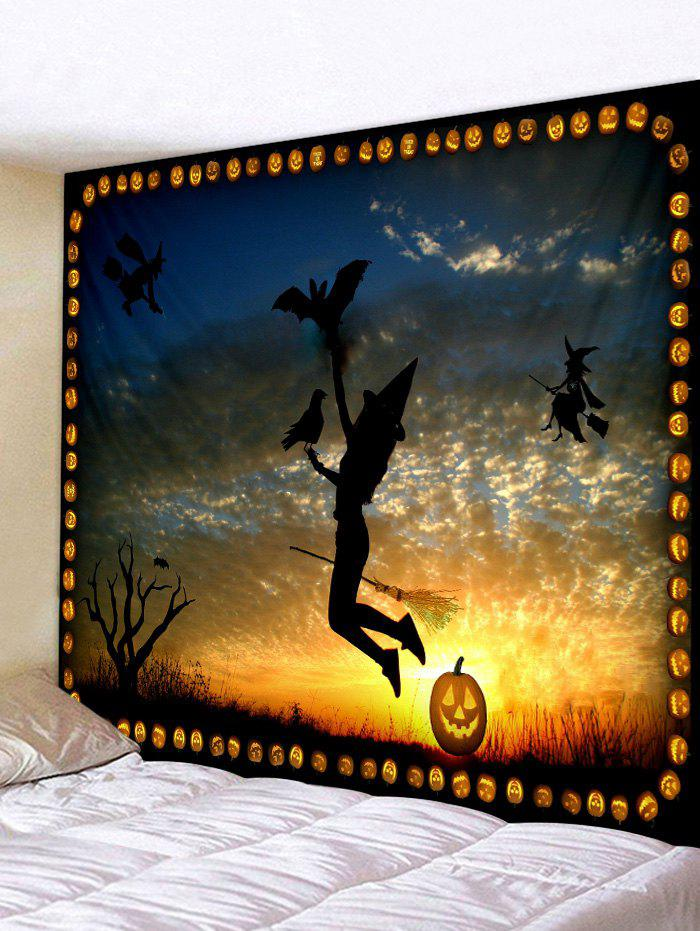 Unique Wall Hanging Art Halloween Witch Sunset Print Tapestry