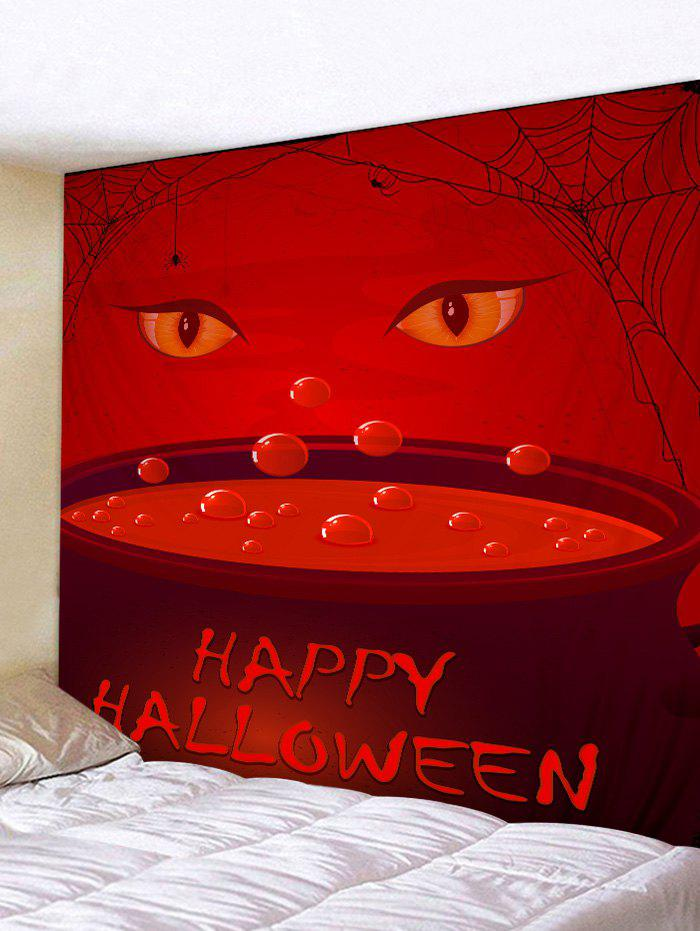 Tapisserie Murale à Imprimé Yeux et Inscription Happy Halloween