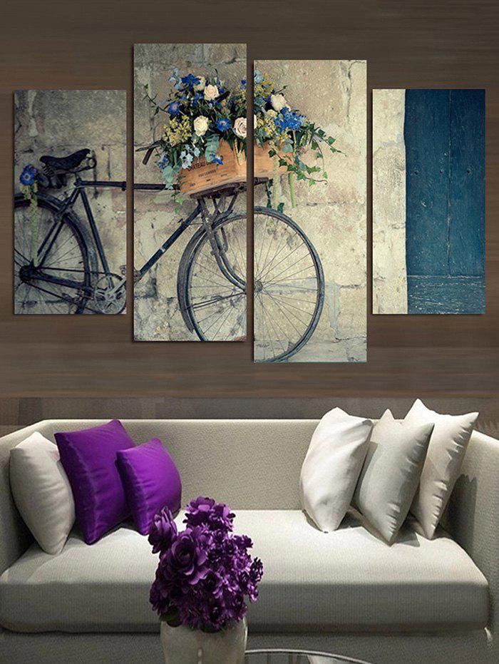 Shops Vintage Bicycle Flower Basket Print Canvas Paintings
