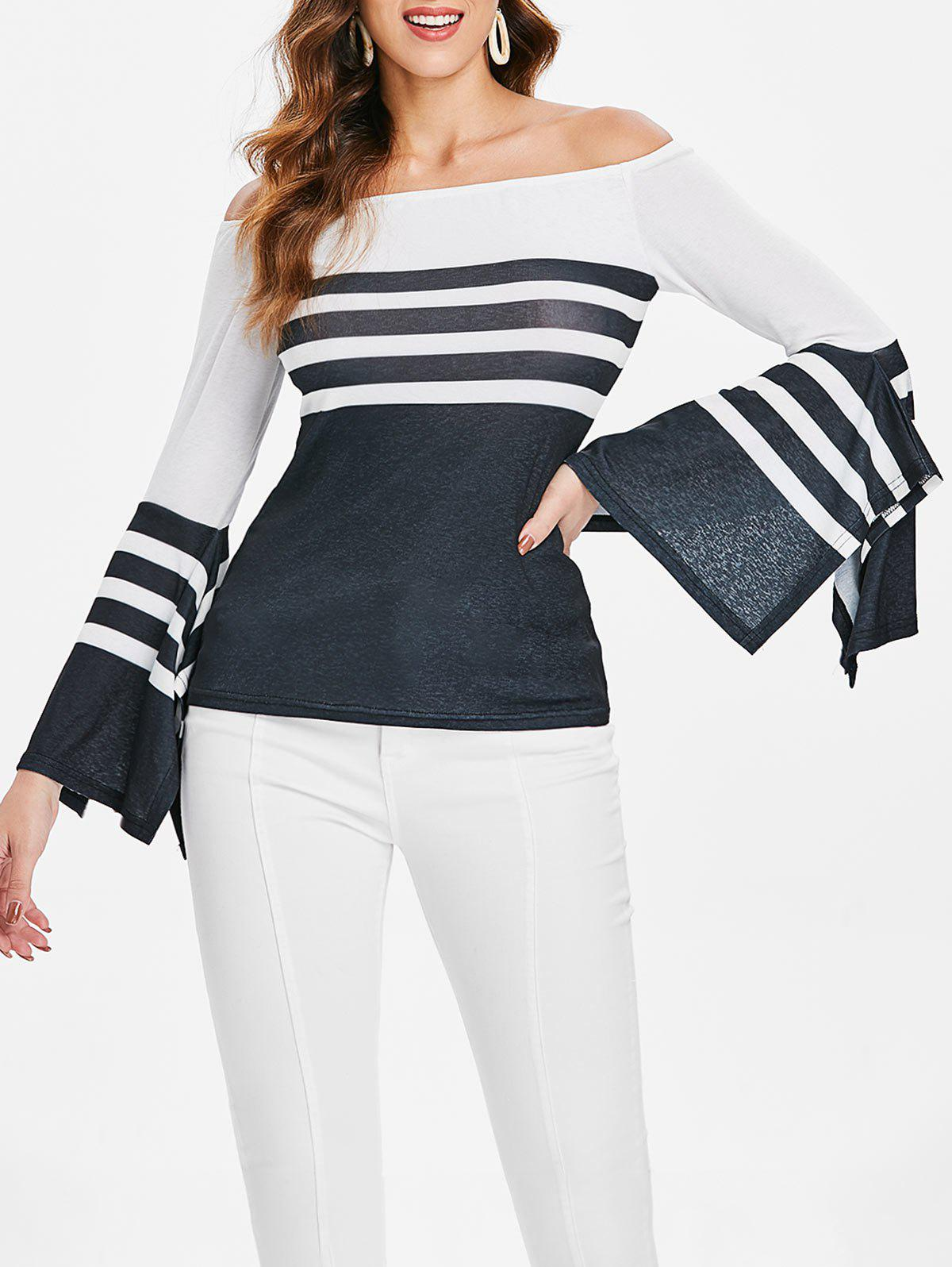 Discount Off The Shoulder Long Sleeve Stripe T-shirt