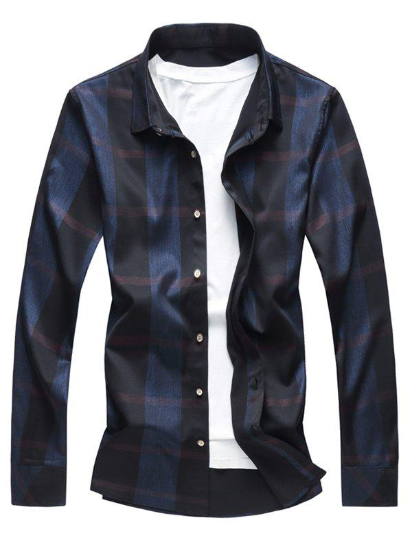 Buy Shiny Plaid Print Button Up Shirt