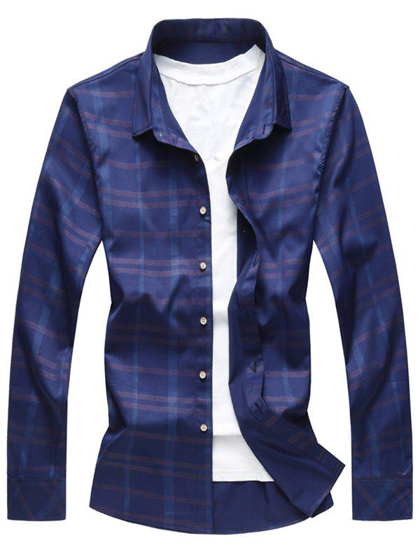Online Button Up Shiny Checked Print Shirt