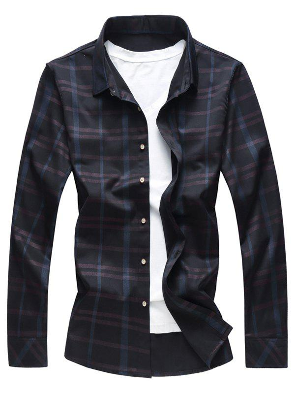 Discount Button Up Shiny Checked Print Shirt