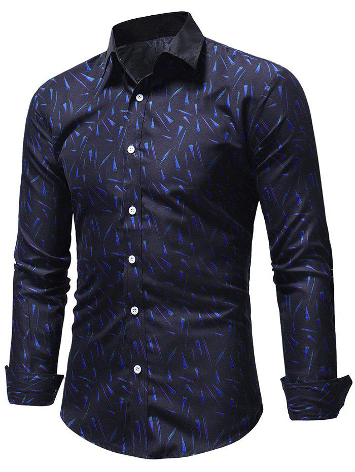 Fashion Geometric Triangles Print Button Up Shirt