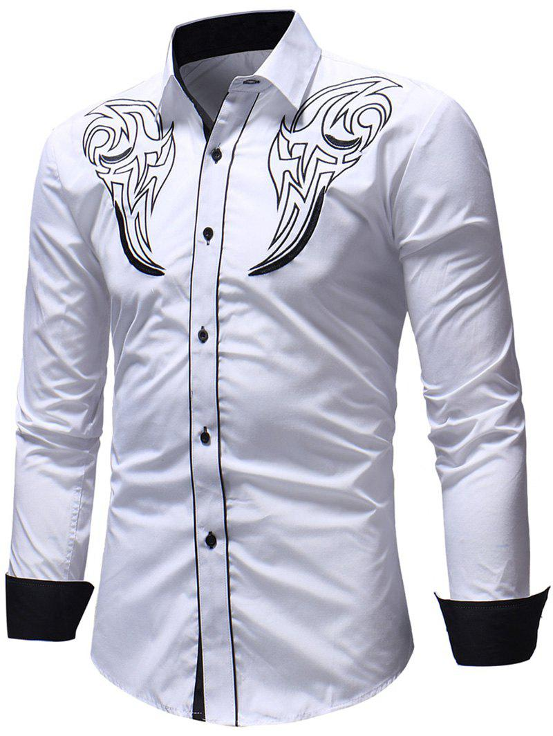 Buy Casual Chest Embroidery Edge Contrast Shirt