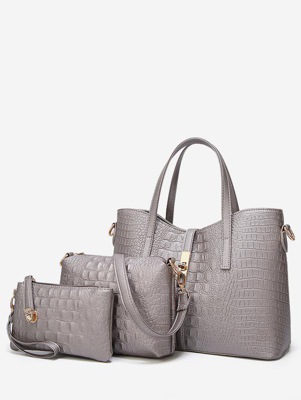 Outfits 3 Pieces Crocodile Pattern Tote Bag Set