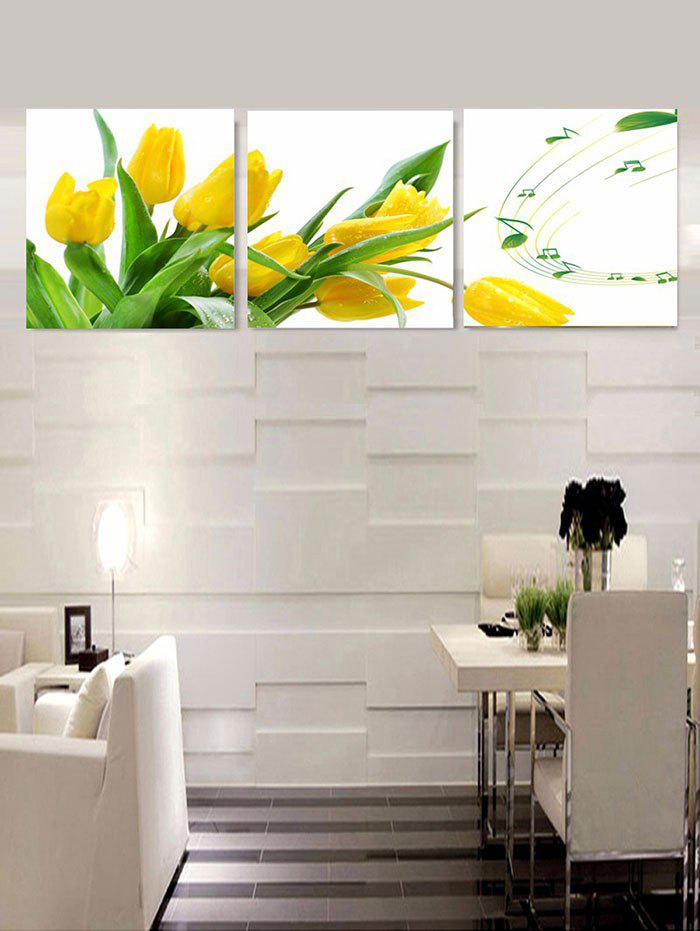 Fashion Flower and Music Print Unframed Split Canvas Paintings
