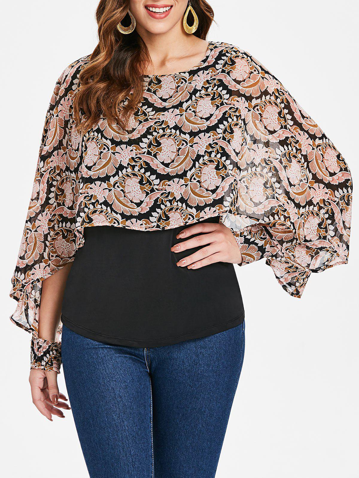 1351f9f58258b 51% OFF   2019 Floral Print Long Sleeve Cape Blouse