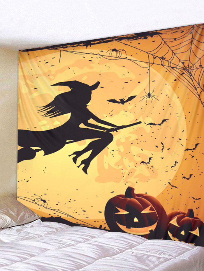 Discount Wall Hanging Art Halloween Witch Pumpkin Print Tapestry