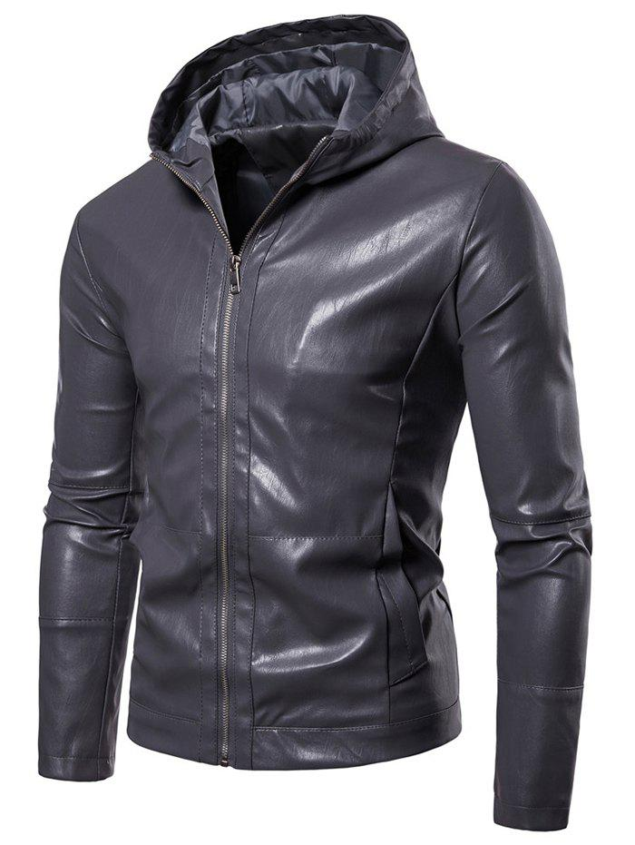 Sale Zip Up Solid Color Hooded Jacket