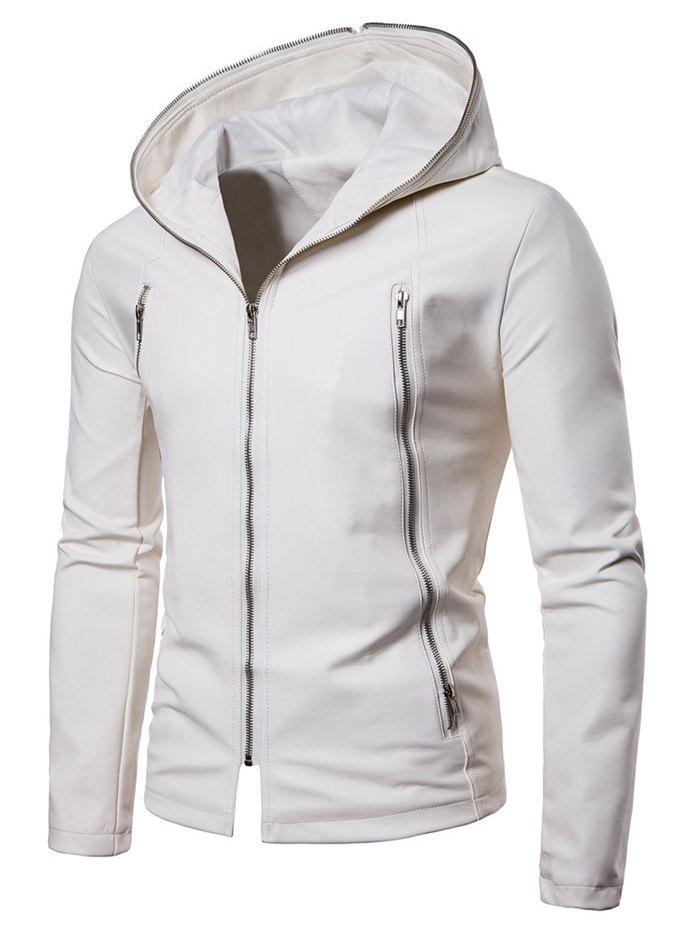 Outfits Zip Up Hooded PU Leather Jacket