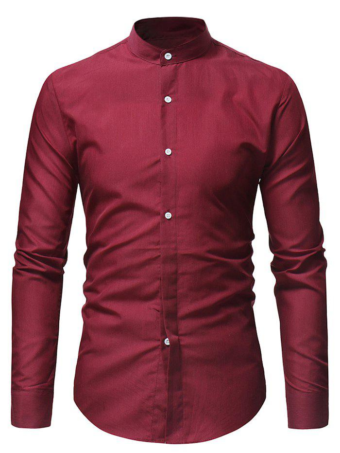 New Stand Collar Solid Casual Long Sleeve Shirt