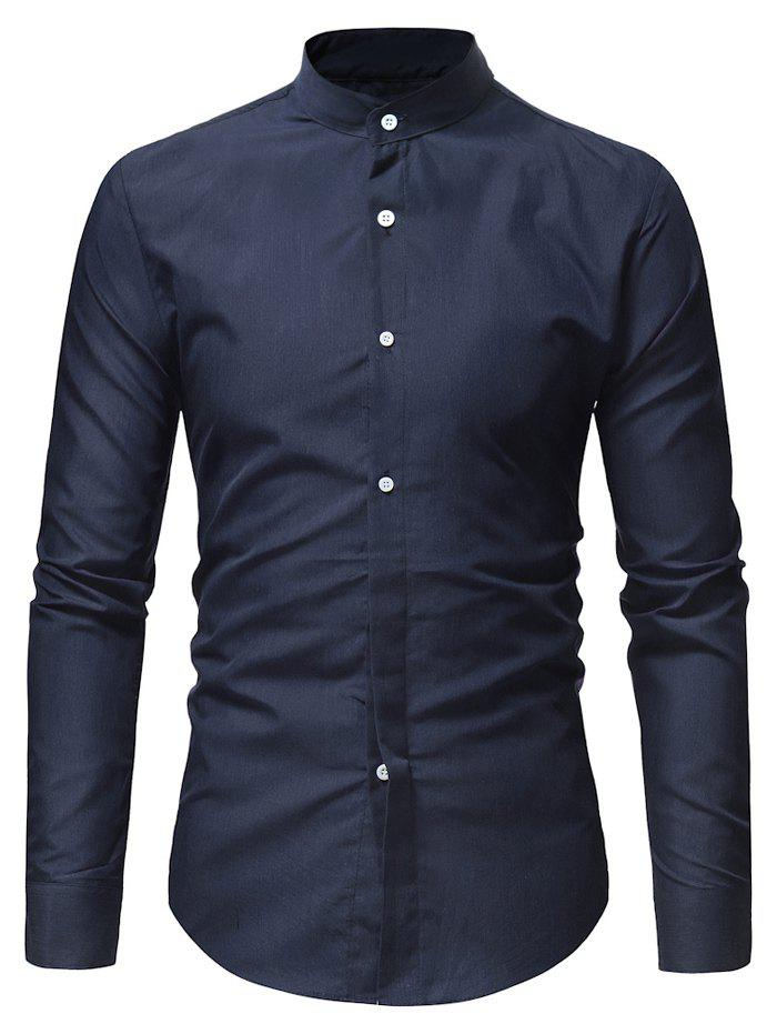 Shops Stand Collar Solid Casual Long Sleeve Shirt
