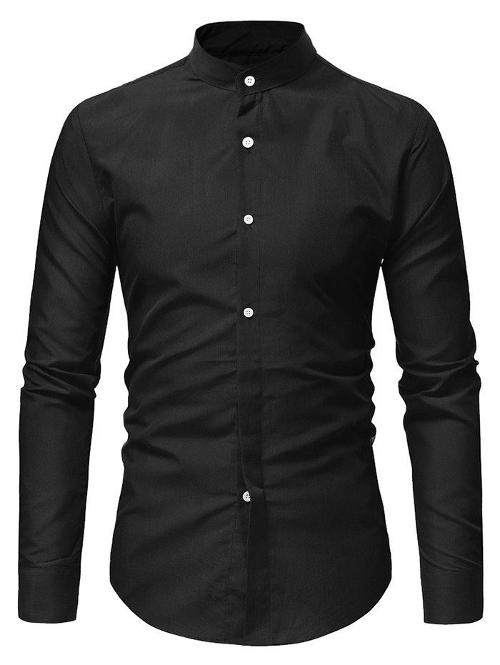 Online Stand Collar Solid Casual Long Sleeve Shirt