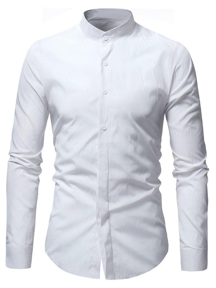 Unique Stand Collar Solid Casual Long Sleeve Shirt