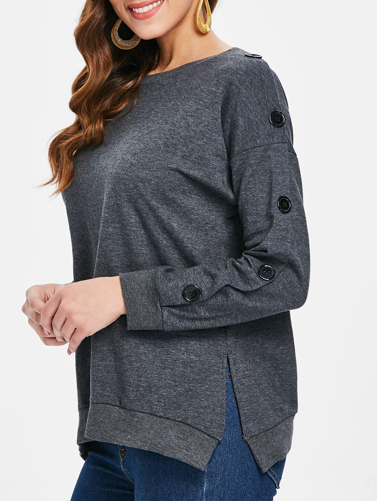 Unique Side Split Buttoned Sweatshirt