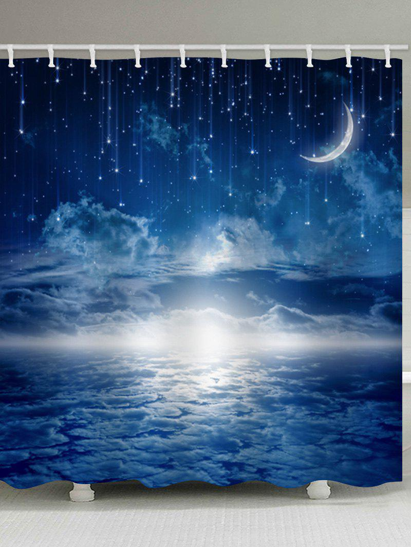 Store Starry Sky Moon Print Waterproof Bathroom Shower Curtain