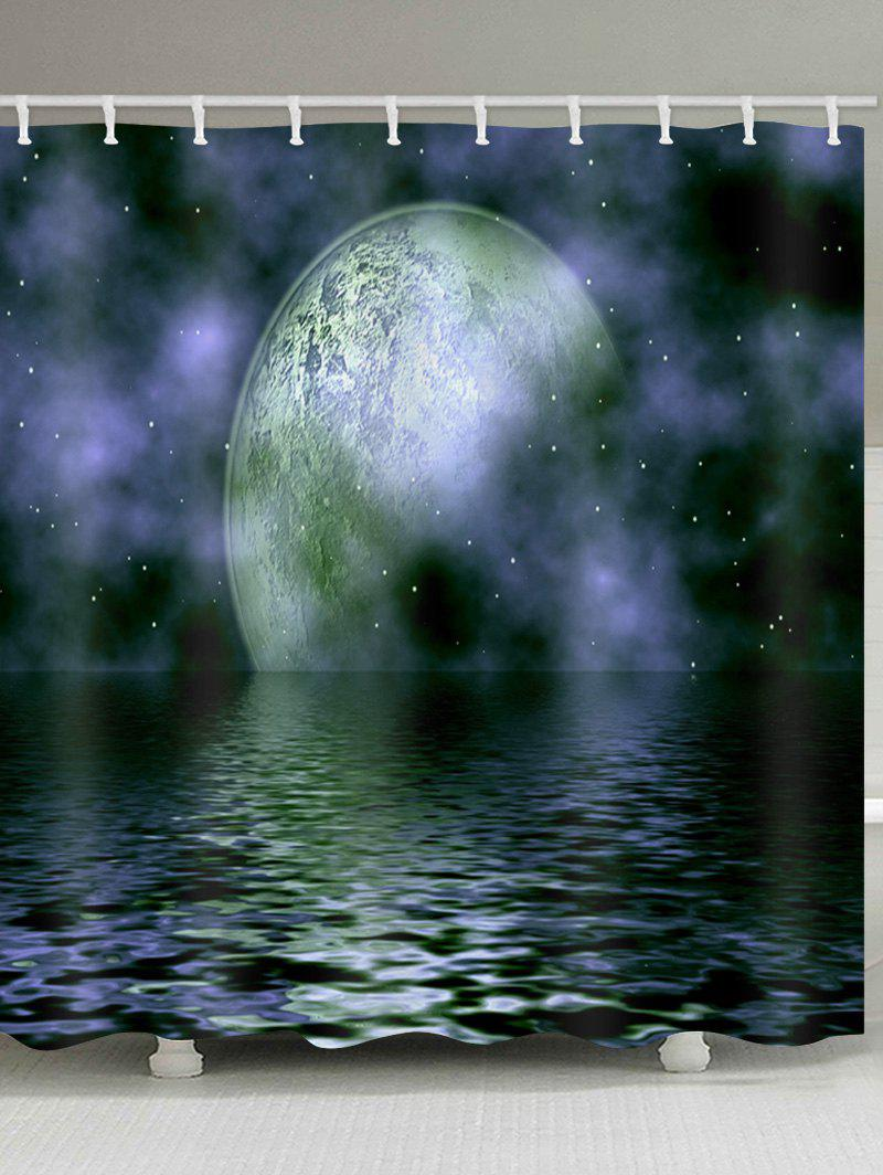 Fashion Ocean Moon Galaxy Print Waterproof Bathroom Shower Curtain