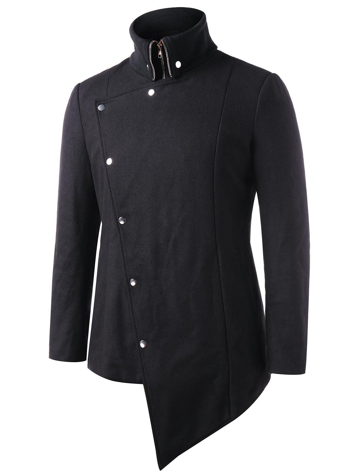 Cheap Asymmetric Snap Button Stand Collar Coat