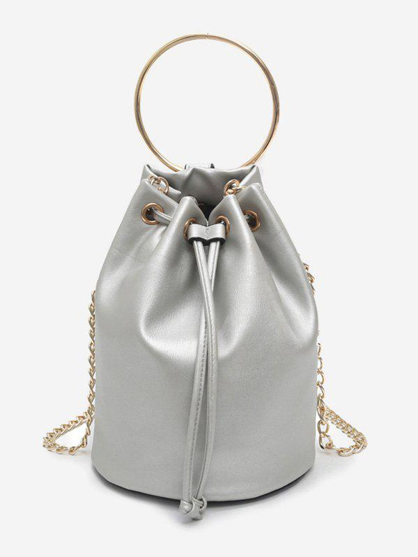 Chic Metal Ring Bucket Shaped Handbag with Chain Strap