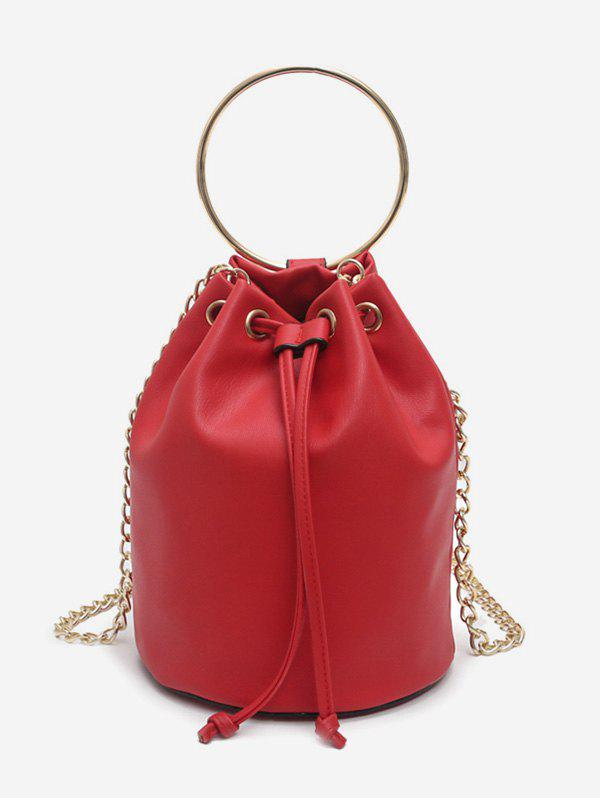 Store Metal Ring Bucket Shaped Handbag with Chain Strap