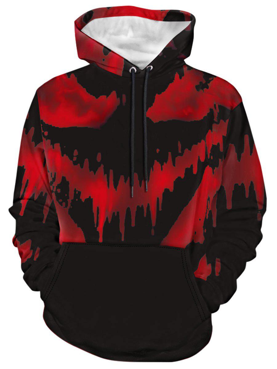 Shops Long Sleeve Splatter Print Drawstring Hoodie