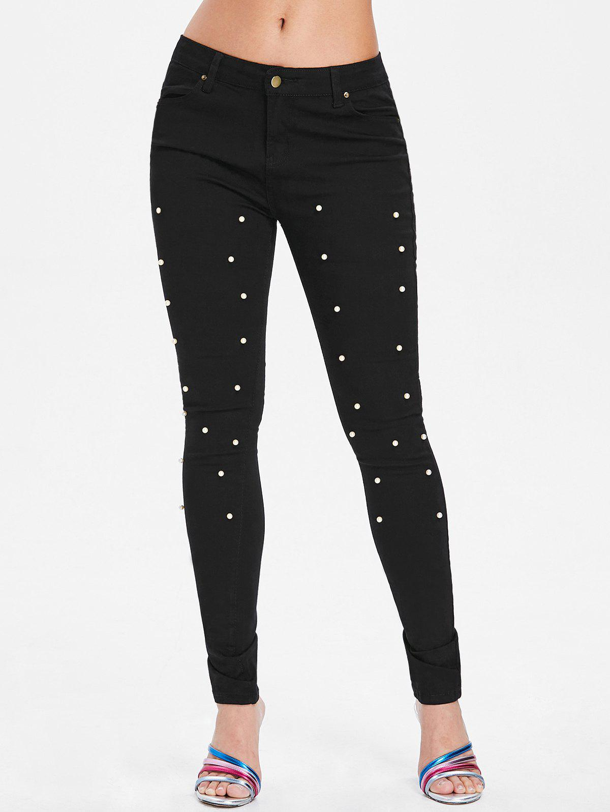 Pantalon Moulant en Perles Fantaisies Noir XL