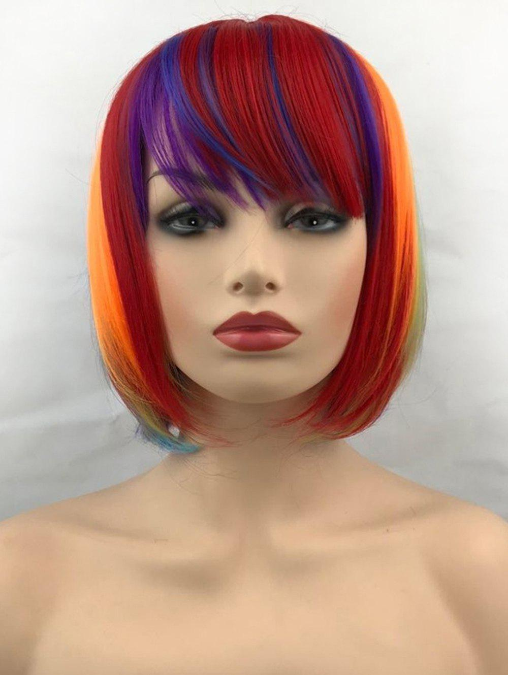 Cheap Short Inclined Bang Colorful Straight Bob Cosplay Synthetic Wig