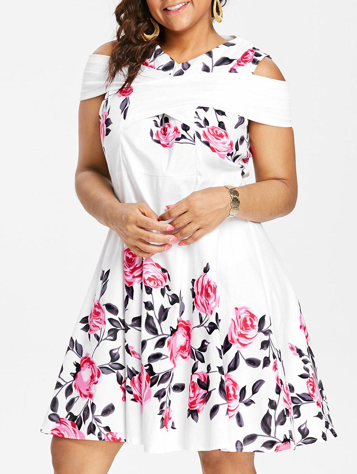 Buy Criss Cross Plus Size Floral 1950s Pin Up Dress