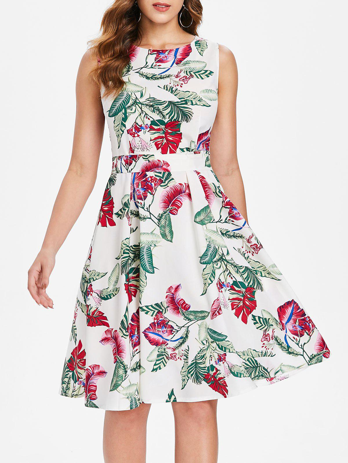 Trendy Leaf Print Sleeveless Fit and Flare Dress