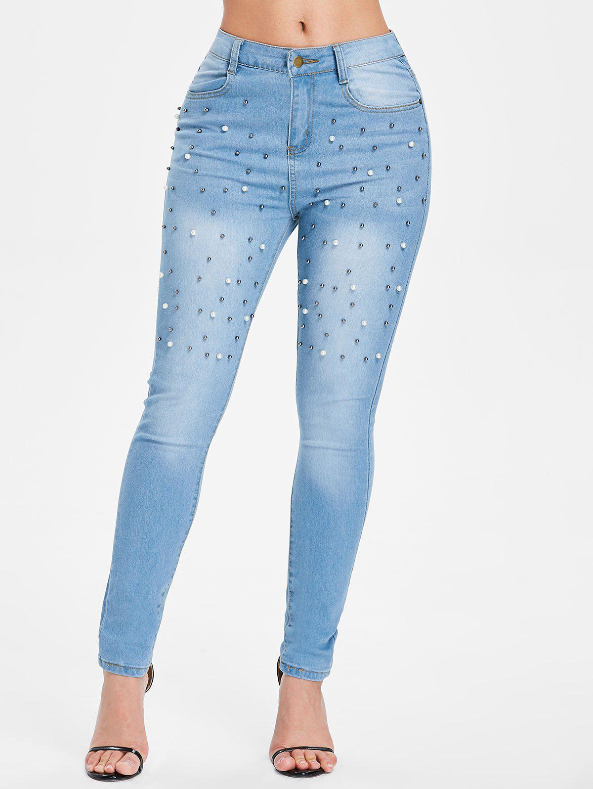 Trendy Beading Front Slim Fit Jeans