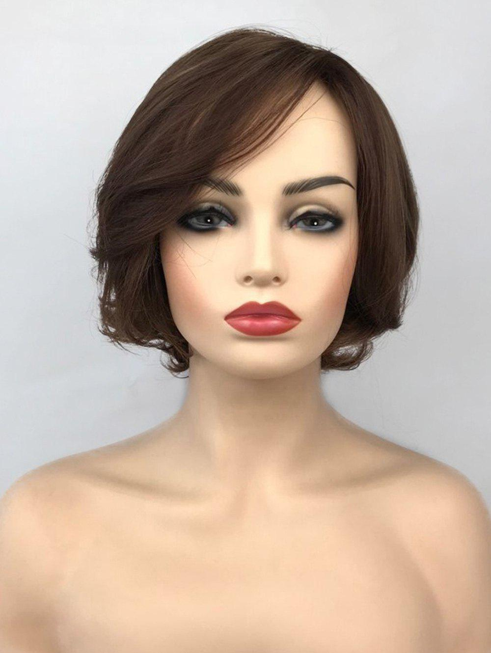 Cheap Short Inclined Bang Straight Colormix Capless Synthetic Wig