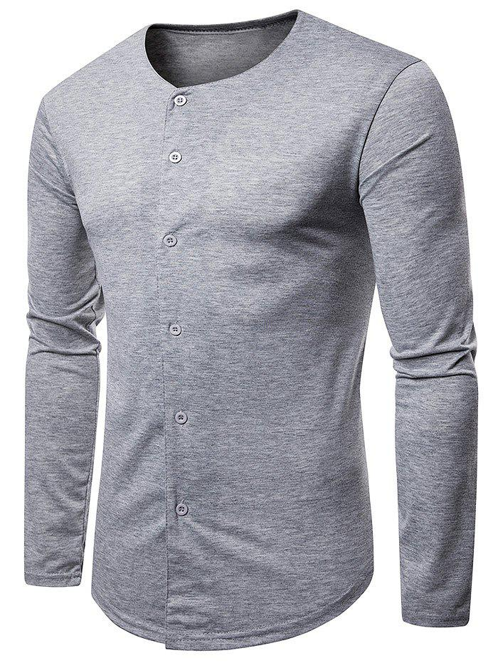 Shop Casual Round Neck Button Up T-shirt