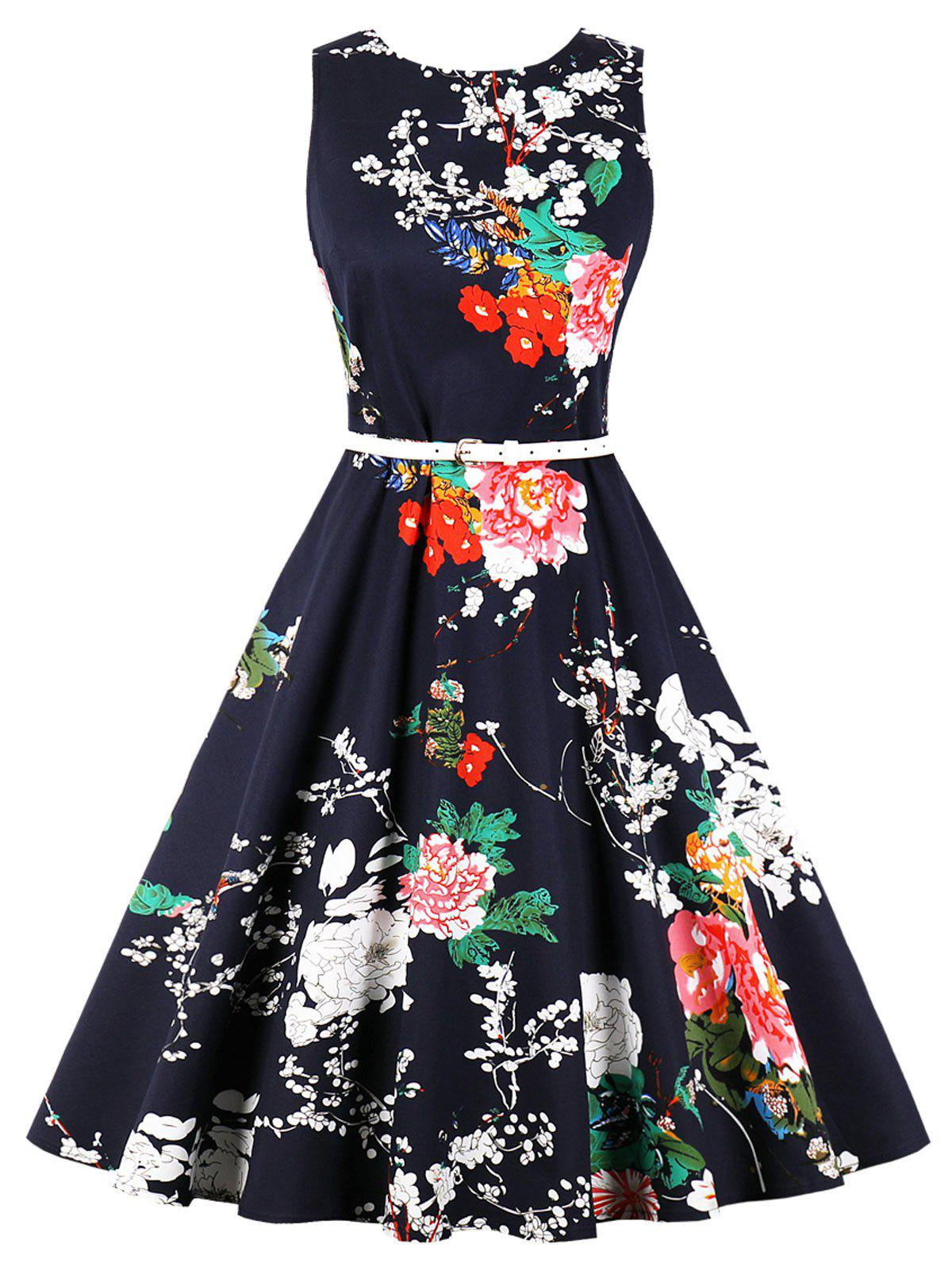 Discount Vintage Floral Fit and Flare Dress