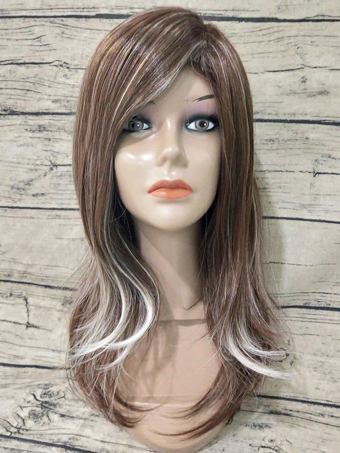 Outfit Long Inclined Bang Straight Colormix Synthetic Wig