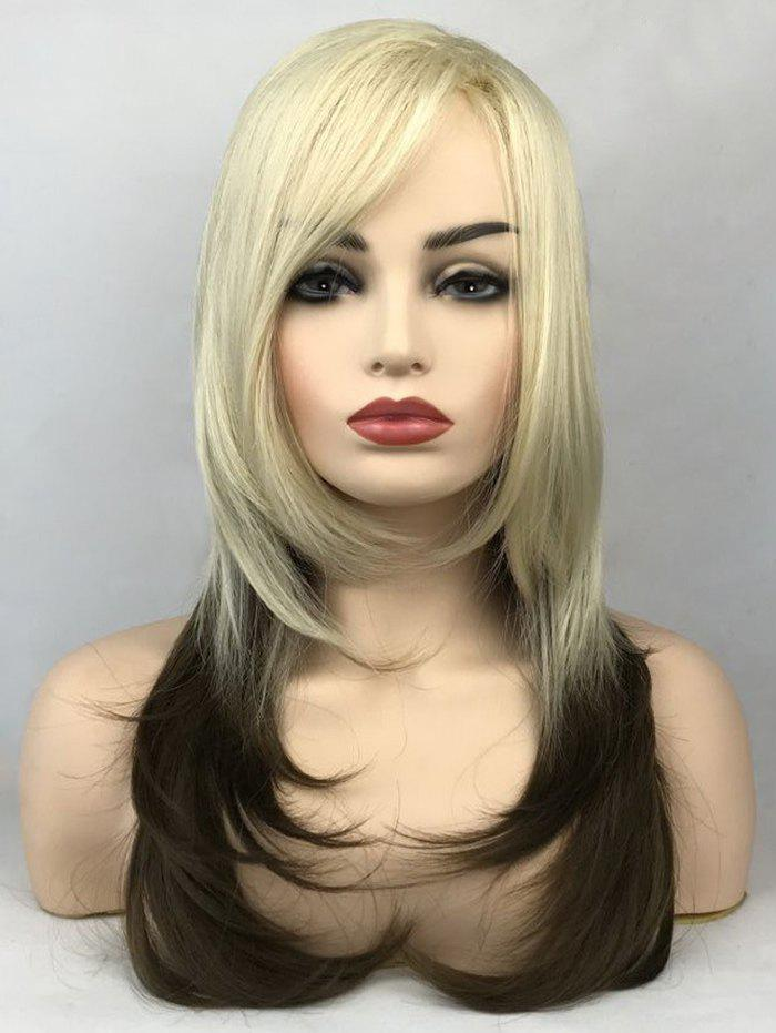 Chic Long Side Bang Colormix Straight Tail Adduction Synthetic Wig