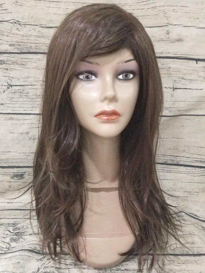 Hot Long Oblique Fringe Straight Capless Synthetic Wig