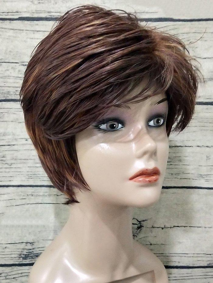 Fashion Short Side Bang Colormix Texture Straight Synthetic Wig