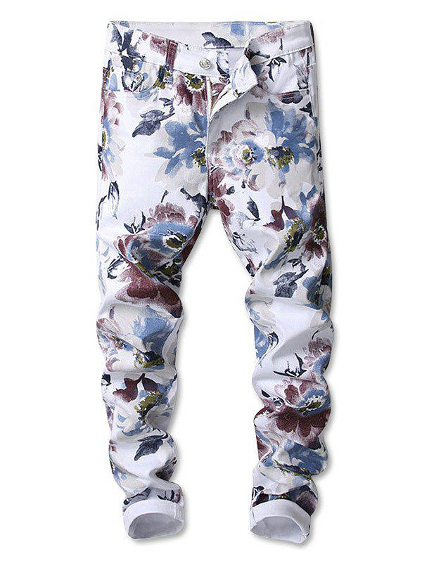 Unique Flowers Painting Print Straight Jeans